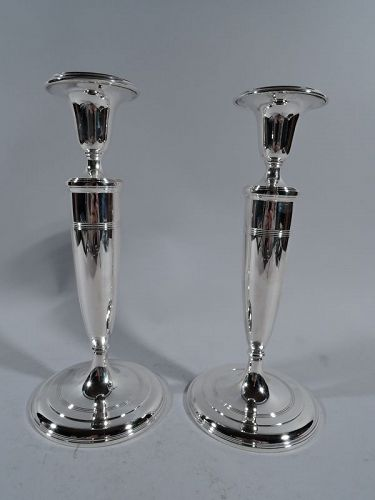 Pair of Tiffany Modern Classic Sterling Silver Candlesticks