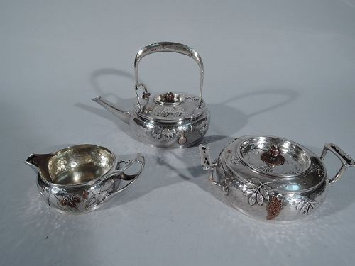 Rare Tiffany Japonesque Hand-Hammered Silver & Mixed Metal Tea Set