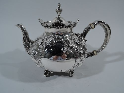 Antique American Repousse Sterling Silver Teapot