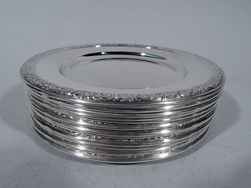 Set of 12 International Prelude Sterling Silver Bread & Butter Plates