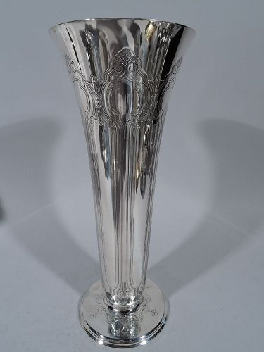 Tiffany Striking Art Nouveau Sterling Silver Vase