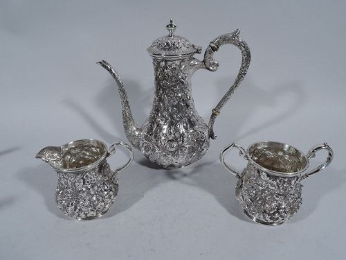Antique Baltimore Repousse Sterling Silver Coffee Set