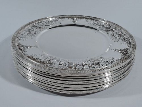 Set of 12 Antique American JE Caldwell Sterling Silver Dinner Plates