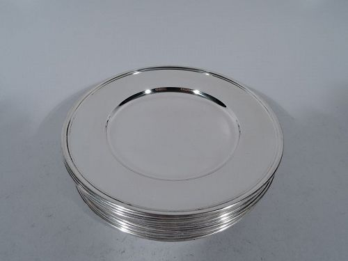 Set of 12 Tiffany Sterling Silver Bread & Butter Plates