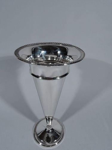 American Sterling Silver Trumpet Vase C 1930