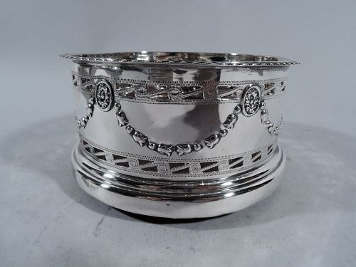 Edwardian English Regency Revival Sterling Silver Wine Bottle Coaster