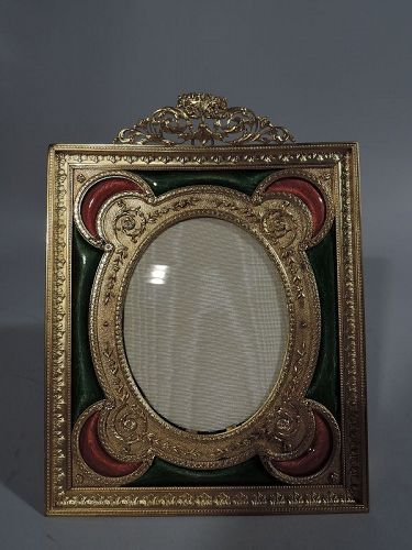 Antique French Gilt Bronze Picture Frame with Pink and Green Enamel