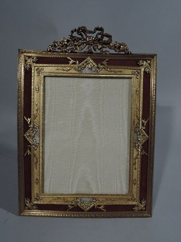 Large Antique Rococo Gilt Bronze & Mother of Pearl Picture Frame