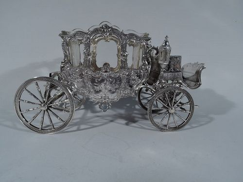 Antique German Rococo Revival Silver Centerpiece Coach