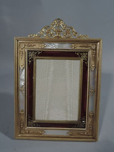 Antique French Gilt Bronze and Mother of Pearl Picture Frame