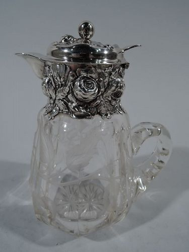 Antique American Repousse Sterling Silver & Etched Glass Syrup Jug