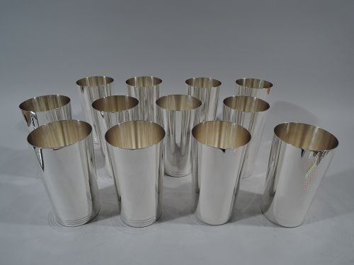 Set of 12 Tiffany Midcentury Modern Sterling Silver Highballs
