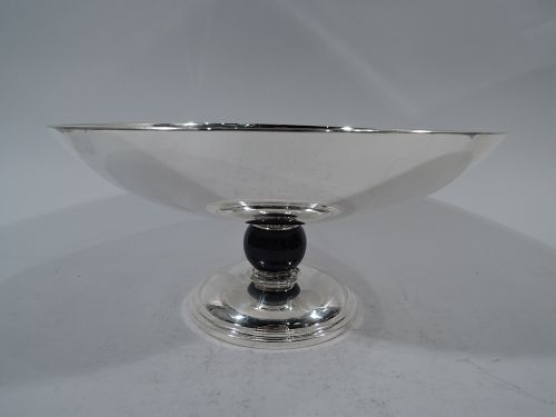 Tiffany Striking Sterling Silver Bowl with Cobalt Enamel Support
