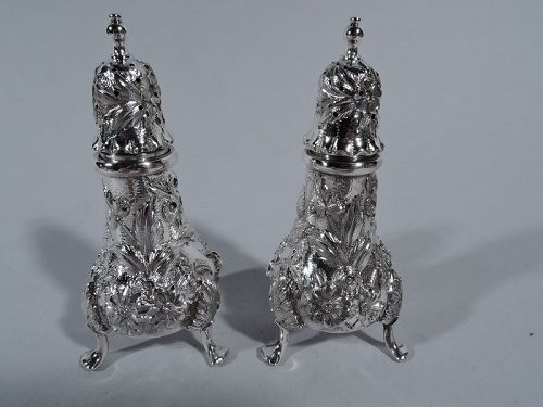 Pair of Pretty Repousse Sterling Silver Salt & Pepper Shakers by Kirk
