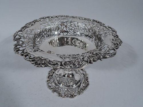 English Edwardian Pierced Sterling Silver Compote