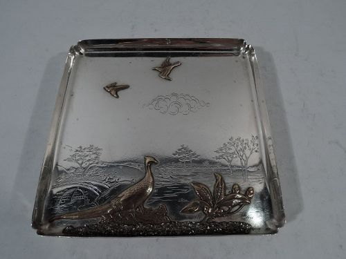 Gorham Mixed Metal and Sterling Silver Landscape Salver Tray