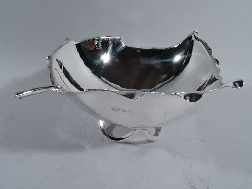 Sciarrotta Midcentury Hand Made Sterling Silver Leaf Bowl � Big & Deep