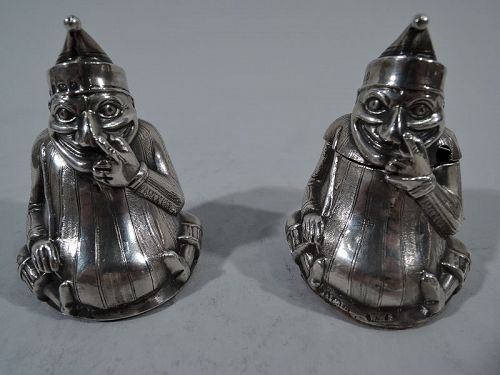Punch Pair � English Sterling Silver Salt Shaker and Mustard Pot