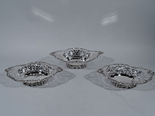 Antique Howard Sterling Silver Garniture of 3 Baskets 1895