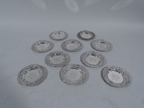 Set of 10 Baltimore Repousse Sterling Silver Butter Pats
