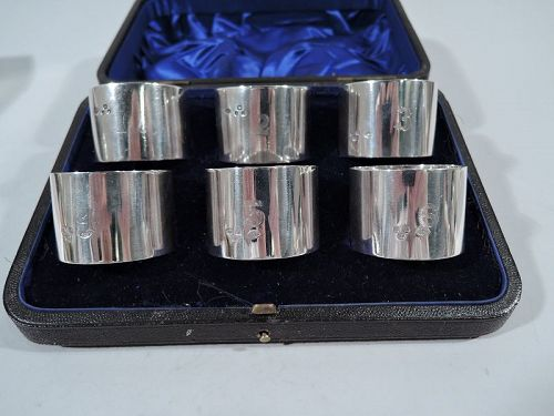 Set of 6 English Sterling Silver Napkin Rings with Numbers