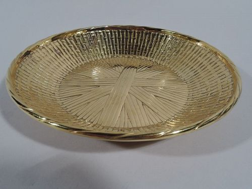Tiffany Modern Gilt Sterling Silver Basket Bowl
