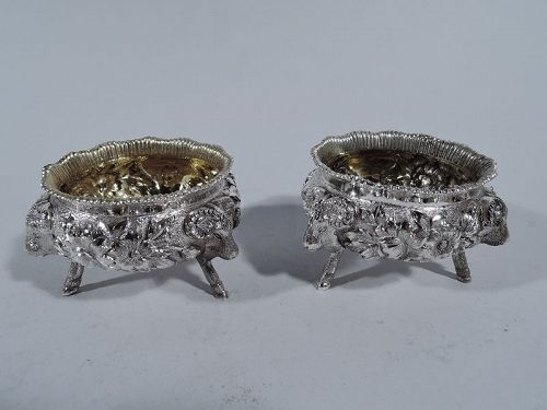 Pair of Antique Neoclassical Sterling Silver Open Salts