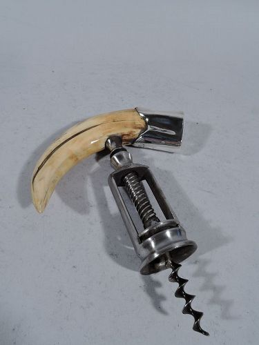 Antique American Corkscrew with Sterling Silver and Horn Handle