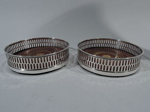 Pair of Tiffany Georgian Pierced Sterling Silver Wine Bottle Coasters
