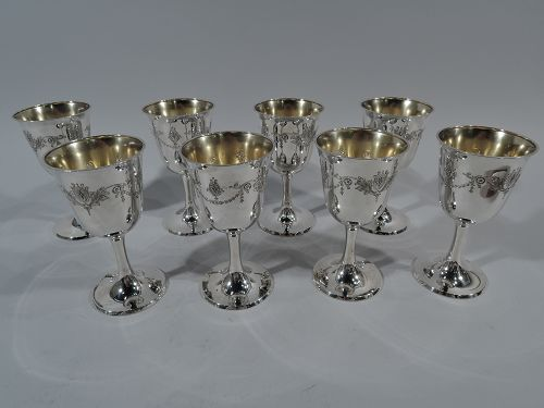 Set of 8 Whiting Edwardian Regency Sterling Silver Goblets