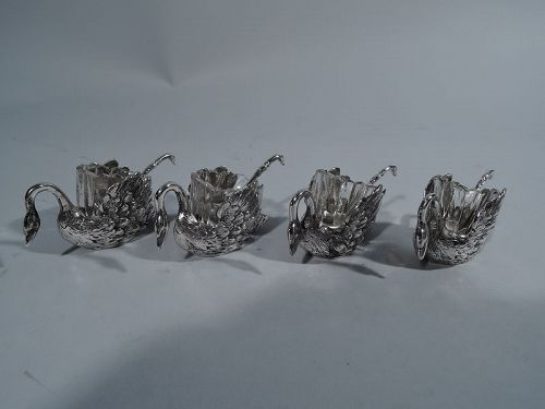 Set of 4 Antique German Silver Swan Open Salts with Spoons