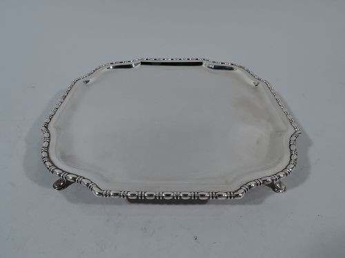 Antique English Edwardian Sterling Silver Bead-and-Reel Salver Tray