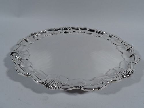 English Sterling Silver Salver Tray with Georgian Shell & Scroll Rim