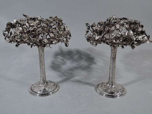 Pair of Antique German Silver Apple Trees from Joan Rivers Estate