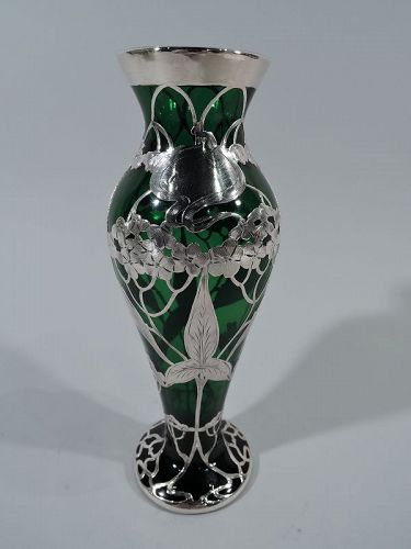 Art Nouveau Emerald Glass Silver Overlay Vase by La Pierre