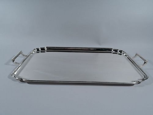 English Wartime Sterling Silver Modern Tea Tray 1944