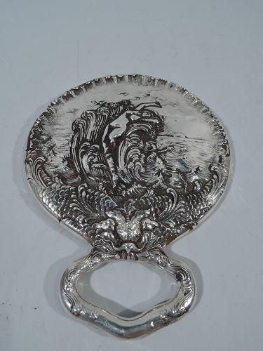 Unger Bros Art Nouveau Sterling Silver Venus Hand Mirror