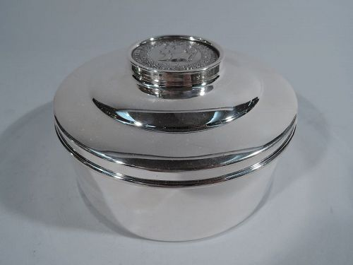 Charming Sterling Silver Keepsake Box with Napoleonic Medal