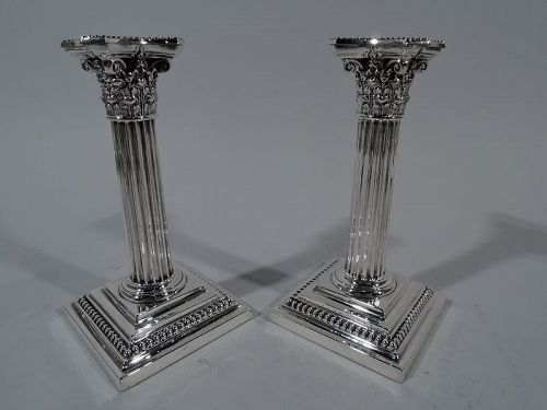 Pair of Gorham Sterling Silver Classical Column Candlesticks
