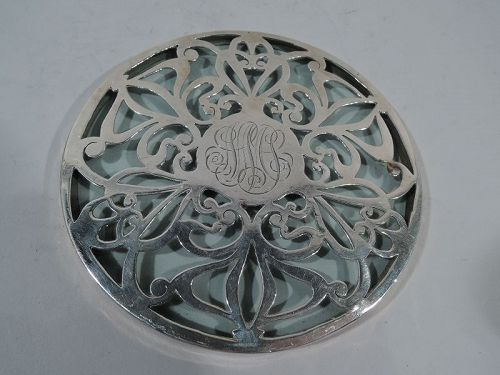 American Art Nouveau Glass Trivet with Whiplash Silver Overlay