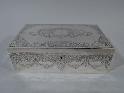 Antique American Edwardian Sterling Silver Humidor by Howard 1901