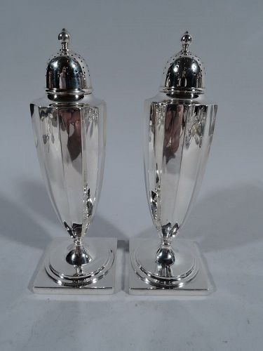 Antique Tiffany Classical Sterling Silver Salt & Pepper Shakers