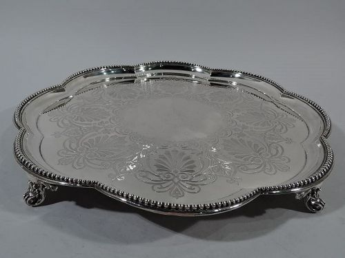 Very Large Antique English Sterling Silver Salver Tray 1871