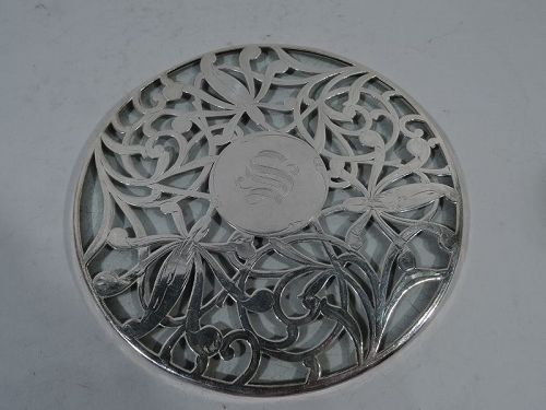 American Art Nouveau Trivet with Abstract Floral Silver Overlay