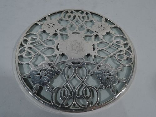 American Art Nouveau Trivet with Pretty Floral Silver Overlay
