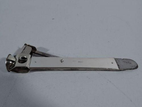 Antique English Edwardian Sterling Silver Cigar Cutter