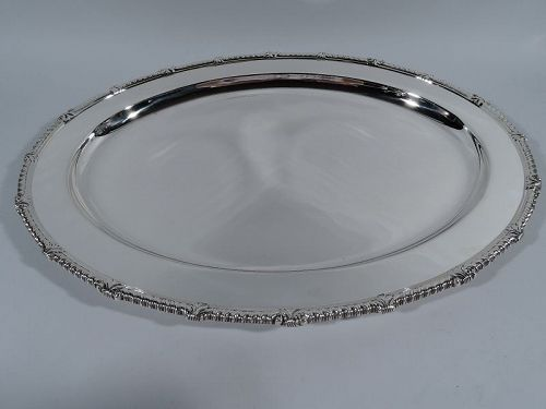 Tiffany Large Sterling Silver Georgian Serving Tray with Gadrooned Rim