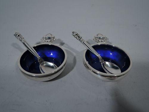 Set of 4 Georg Jensen Acorn Sterling Silver & Enamel Open Salts