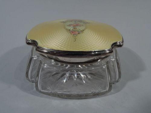 American Edwardian Sterling Silver & Enamel Powder Jar by Thomae