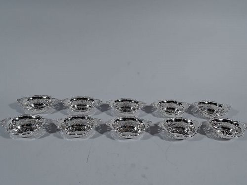Set of 10 Gorham Edwardian Pierced Sterling Silver Nut Dishes